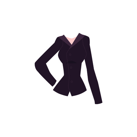 Black slim fit women blazer, suit jacket with button fastening, cartoon vector illustration isolated on white background. Cartoon women blazer with lapel collar and button-up fastening, trendy outfit Illustration