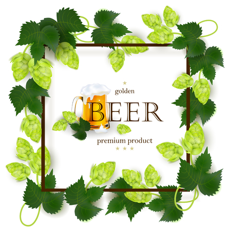 Emblem, banner, label design with beer mug, square frame of hops, realistic vector illustration isolated on white background. Beer label, poster, banner, emblem design with mug and frame of hop leaves