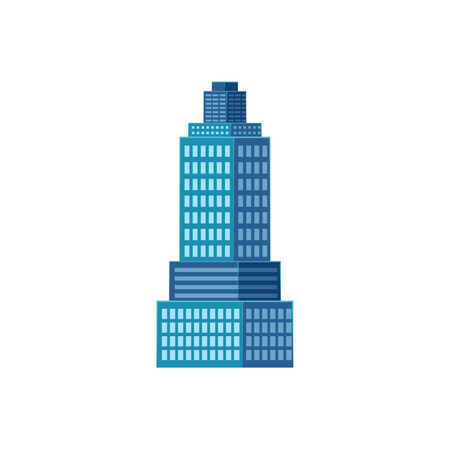 vector flat cartoon skyscraper building, office center business architecture, blue and white colored. Isolated illustration on a white background. Ilustração