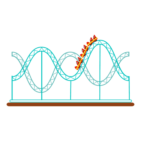 Roller coaster, rollercoaster ride in amusement park, flat style icon, vector illustration isolated on white background. Flat icon, illustration of rollercoaster amusement park ride