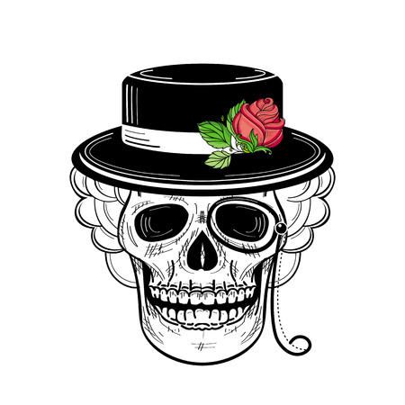 vector sketch hand drawn skull tattoo black and whte in hat with red rose with green stem and leaves and monocle. Isolated illustration on a white background.