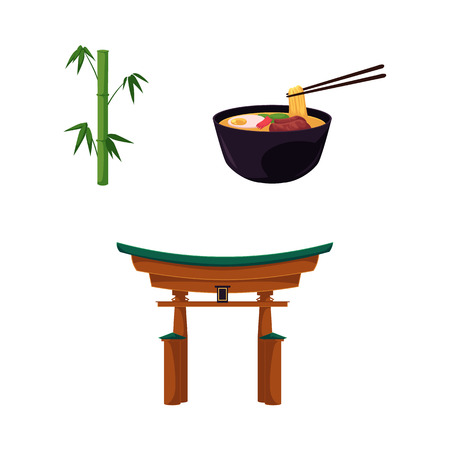 Vector flat japan symbols set. Green Bamboo stems sticks with green leaves, oriental ancient traditional building - torii gate, bowl with eastern noodles icon . Isolated illustration white background Çizim