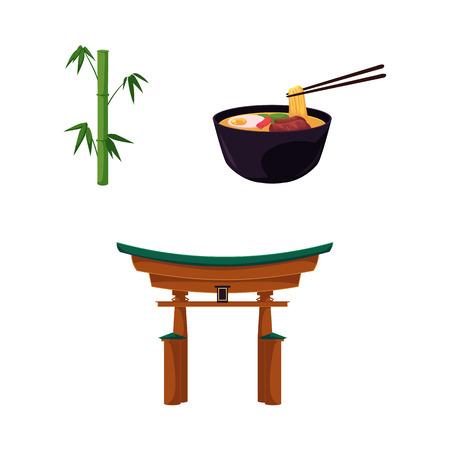 Vector platte japan symbolen set. Groene bamboe stengels stokken met groene bladeren, oosterse oude traditionele gebouw - torii poort, kom met oosterse noedels pictogram. Geïsoleerde illustratie witte achtergrond Stock Illustratie