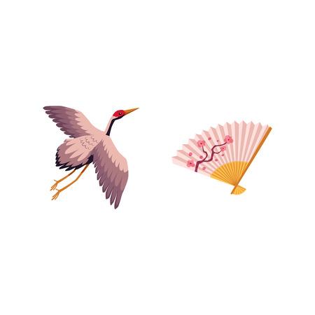 ベクトルフラット日本の伝統的な飛行鳥 - クレーン羽ばたき翼と花の印刷アイコン画像日本のシンボルと日本の桜の枝と折り畳みファン。白い背景