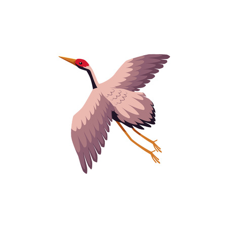 Vector flat Japan traditional flying bird - crane flapping wings icon image, cartoon style japanese symbols concept. Isolated illustration on a white background.  イラスト・ベクター素材
