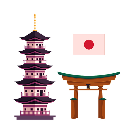 Set of Japanese symbols - national flag, multi-storied pagoda and torii gate, flat cartoon vector illustration isolated on white background. Set of flat Japan and icons - pagoda, flag and torii gate