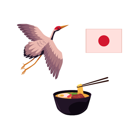 Set of Japanese culture elements - national flag, flying crane bird and ramen soup, flat cartoon vector illustration isolated on white background. Japan icons - flag, crane and bowl of ramen soup