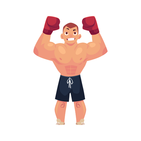 Vector cartoon muscular strong handsome boxer man bare torso and chest standing with hands in red boxing gloves raised up smiling like winner. Isolated illustration on a white background. Illustration