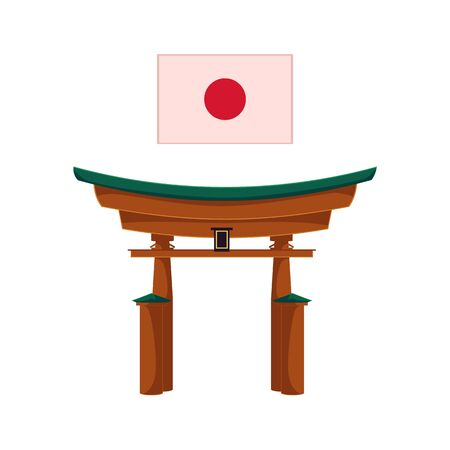 Vector japanese gate or torii gate, japanese national flag with red sun. Flat style traditional eastern building, landmark icon. Isolated illustration on a white background. Illustration