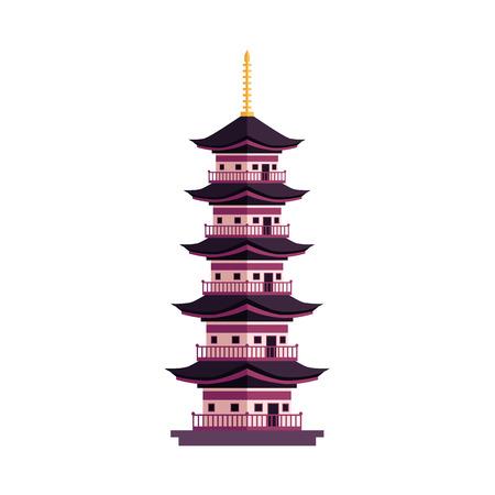 ベクトルフラット漫画スタイル日本シンボルコンセプト。エレガントな東洋の古代の伝統的な建物 - パゴダのアイコン。白い背景に分離されたイラ