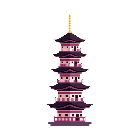 벡터 플랫 만화 스타일 일본 기호 개념입니다. 우아한 동양 고대 국가 전통 건물 - 탑 아이콘입니다. 흰색 배경에 고립 된 그림입니다. 일러스트