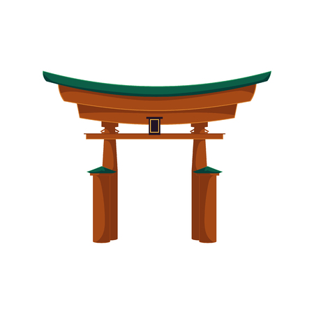 Vector japanese gate or torii gate. Flat style national traditional eastern building, landmark icon. Isolated illustration on a white background.  イラスト・ベクター素材