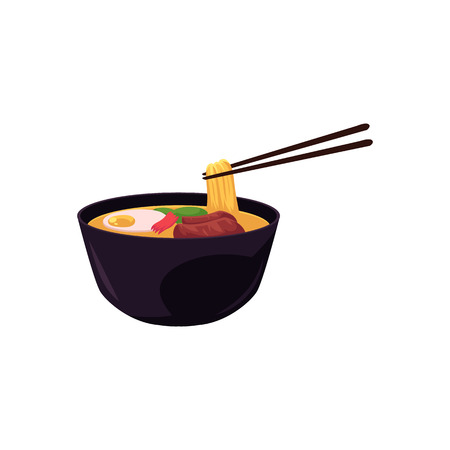 Vector flat asian japan, china oriental symbols concept. Noodles with meat and ingredients in ceramic pot, bowl with bamboo sticks. Isolated illustration on a white background. Illustration