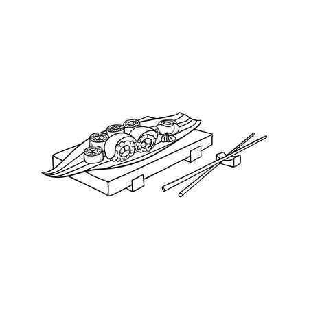 白い背景に竹の棒で木製のプレートで提供される寿司ロール。  イラスト・ベクター素材