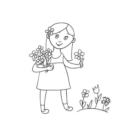 Cute little girl in summer dress picking flowers on the field, flat cartoon vector illustration isolated on white background. Hand drawn cartoon little girl picking flowers in spring, summer garden