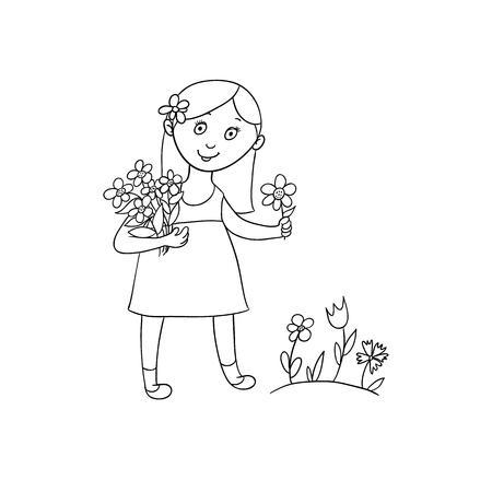 Schattig klein meisje in zomerjurk plukken bloemen op het veld, platte cartoon vectorillustratie geïsoleerd op een witte achtergrond. Hand getrokken beeldverhaalmeisje het plukken bloemen in de lente, de zomertuin