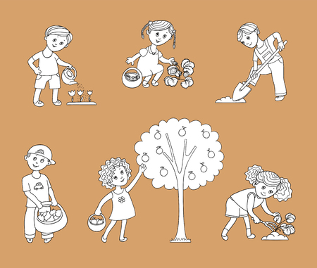 Kids, children helping in the garden - digging and spudding, setting and watering plants, harvesting apples, flat cartoon vector illustration isolated onbackground. Kids helping in the garden Illustration