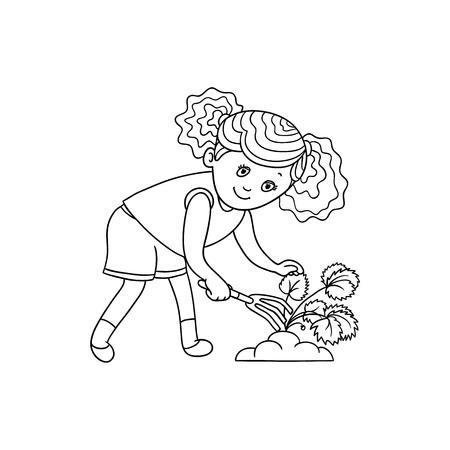熊手で地面を引っ掻く女の子、庭の植物の世話、白い背景に隔離されたフラット漫画ベクトルイラスト。イチゴ植物の世話をする女の子のガーデニ
