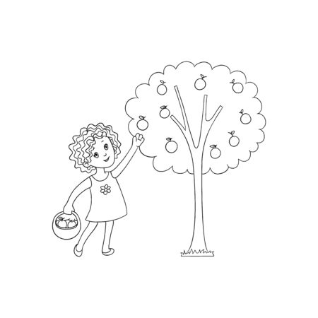 vector flat cartoon girl kid in red dress holding wicker basket collecting apples from apple tree smiling. Isolated illustration on a white background. Children at garden concept.