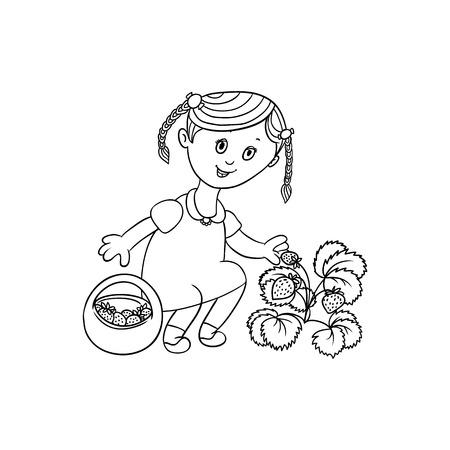 vecteur gamin plat dessin animé en robe tenant le panier en osier collecte des fraises de buisson souriant. Illustration isolée sur un fond blanc. Enfants au concept de jardin.