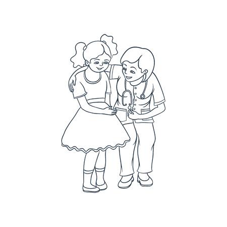 벡터 평평한 만화 여성 의사와 청진 기 긴장 십 대 소녀 아이 병원에서 진정. 여자 의료 의류 및 자식 소아과입니다. 흰색 배경에 고립 된 그림입니다. 일러스트