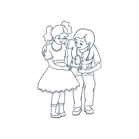 vector platte cartoon vrouwelijke arts met een stethoscoop kalmeren nerveus tiener meisje kind in het ziekenhuis. Vrouw kinderarts in medische kleding en kind. Geïsoleerde illustratie op een witte achtergrond.