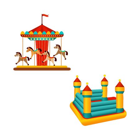 Pretparkcarrouselrit met paarden en opblaasbaar springkasteel, vlak stijlicoon, vectordieillustratie op witte achtergrond wordt geïsoleerd. Carrousel, draaimolen en springkasteel in pretpark