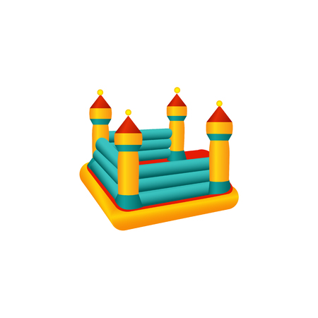 vector flat amusement park concept. Children rubber inflatable playground bouncy castle trampoline with colored towers. Isolated illustration on a white background. Stock Vector - 92121294