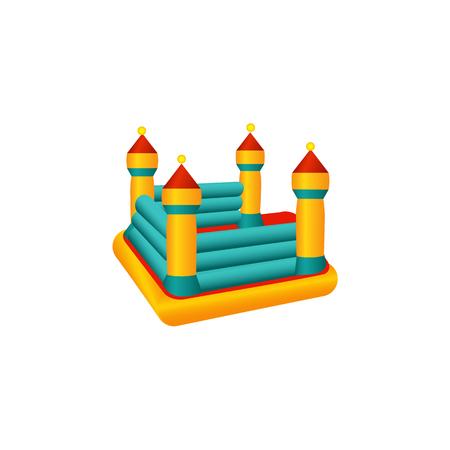 vector platte pretpark concept. Rubber opblaasbare speelplaats springkasteel trampoline voor kinderen met gekleurde torens. Geïsoleerde illustratie op een witte achtergrond.