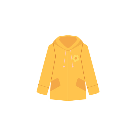 Vector flat cartoon baby kid, child women yellow jacket, coat with flower print. Fashionable trendy style female clothing. Isolated illustration on a white background.