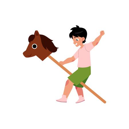 夏キャンプの概念ベクトル フラット漫画子供。少年の段階で役割を果たして木製の馬と遊ぶ。白い背景に分離の図。  イラスト・ベクター素材