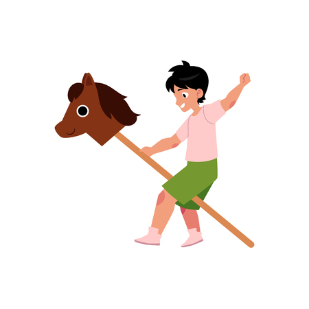 Niños de dibujos animados plano de vector en concepto de campamento de verano. Niño jugando con caballo de madera jugando el papel en el escenario. Ilustración aislada en un fondo blanco. Foto de archivo - 92120497