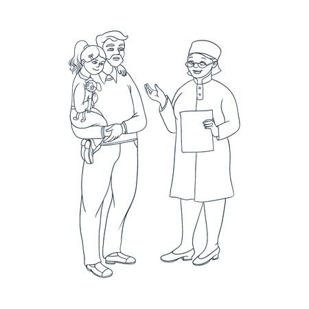 여성 의사는 아버지와 그의 딸 아이콘을 얘기합니다.