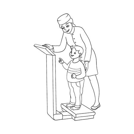 벡터 평면 만화 여성 의사 검토 십 대 소년 아이가 무게. 여자 의료 의류 및 자식 소아과입니다. 흰색 배경에 고립 된 그림입니다. 스톡 콘텐츠 - 92134027