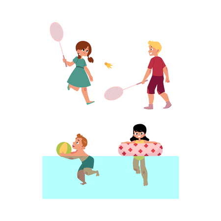 Vector summer camp kids set. Caucasian girls and boys playing badminton holding rockets, swimming in water in river or pool with inflatable ring and ball. Isolated illustration white background 일러스트
