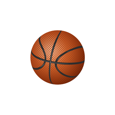 Vector flat cartoon basketball ball, sport equipment object for your graphic design or web design element. Isolated illustration on a white background