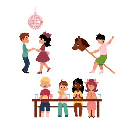Kids, boys and girls, dancing, eating together and riding hobby horse, vacation in summer camp, cartoon vector illustration on white background. Summer camp, kids eating, dancing, playing