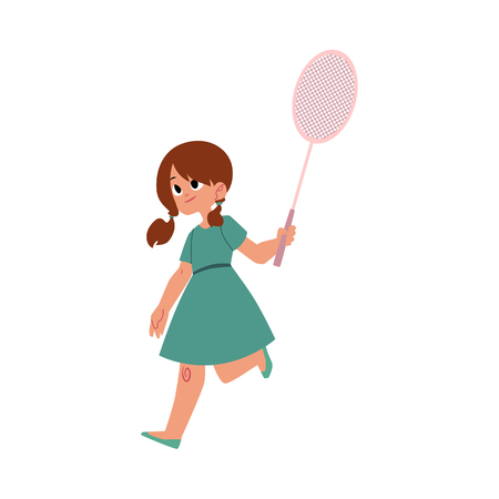 Pretty girl in summer dress playing badminton with a racket, cartoon vector illustration on white background. Full length portrait of teenage girl playing badminton Illustration
