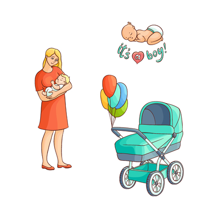 Mother holding her newborn son, infant sleeping, baby carriage, pram with balloons, hand drawn cartoon vector illustration isolated on white background. Newborn baby set - infant boy, mother, pram