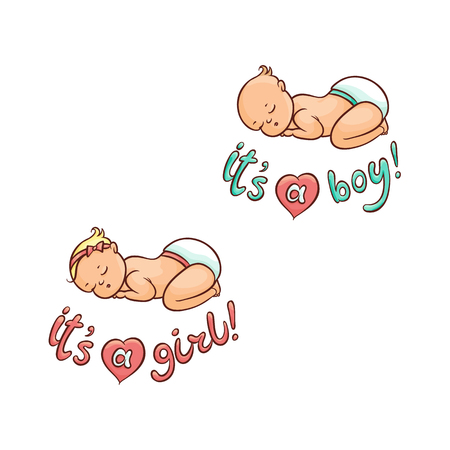 Newborn boy, girl infant sleeping, baby shower card lettering design, hand drawn cartoon vector illustration isolated on white background. Newborn baby sleeping, boy and girl Иллюстрация