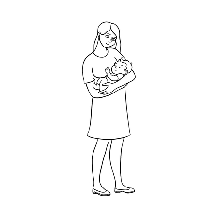 Mother holding her newborn baby, son or daughter, hand drawn vector illustration, isolated black outline on white background. Uncolored picture of young pretty woman, mother holding her newborn baby