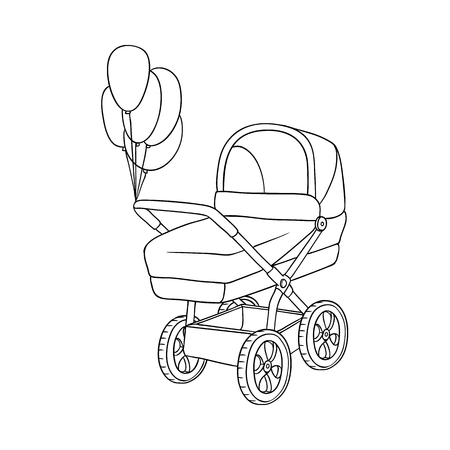 Black and white, uncolored baby carriage, pram decorated with balloons, isolated hand drawn vector illustration. Baby carriage, pram outline picture, decoration element for newborn greeting card Çizim