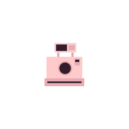 Vector instant retro vintage photo camera lens colored icon pictogram. Flat cartoon isolated illustration on a white background. Logo brand concept for photo studio design