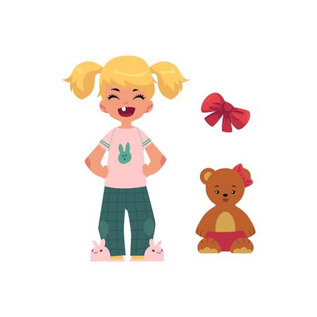 Vector platte cartoon schattige tandenloze meisje kind kind met pigtails in grappige kleding en haas-achtige slippers. geïsoleerde illustratie op een witte achtergrond.