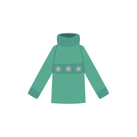 Vector flat cartoon child baby kid green warm knitted winter pullover. Fashionable trendy style female casual clothing. Isolated illustration on a white background.