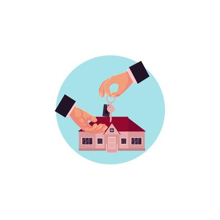 Main de l'homme plat vecteur en costume formel donne la clé à une autre main sur le fond de la nouvelle maison privée, icône de la maison. Concept de vente ou de location de propriété. Illustration isolée sur fond blanc Banque d'images - 92121701