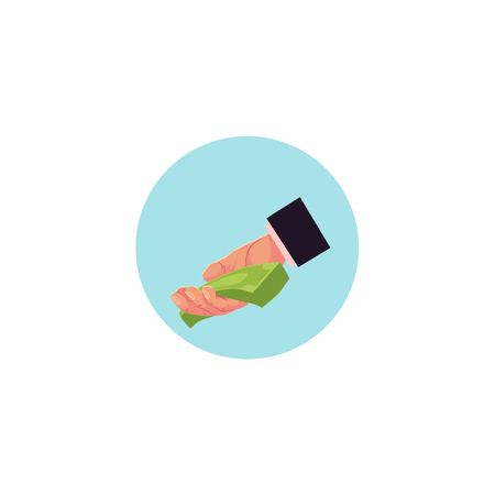 Vector flat man hand in formal suit giving bundle money icon in blue circle. Concept of cash loan, credit donation or business deal. Isolated illustration on a white background. Illustration