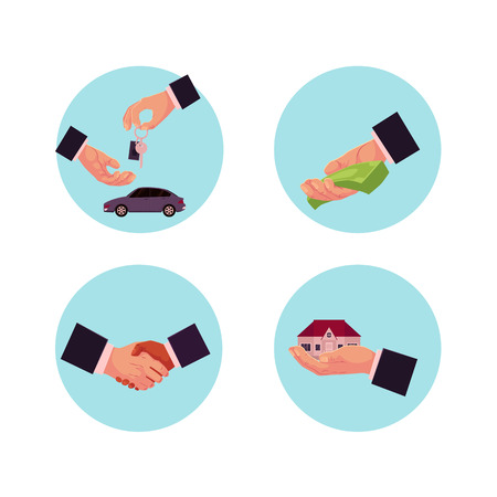 Vector flat man hands making business deals icon set. Buying, selling and renting a house or car, giving money for credit, loan or donation and handshaking. Isolated illustration on white background