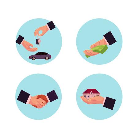 Vecteur homme plat mains faisant affaires traite icon set. Acheter, vendre et louer une maison ou une voiture, donner de l?argent pour un crédit, un prêt ou un don et une poignée de main. Illustration isolée sur fond blanc Banque d'images - 92121703