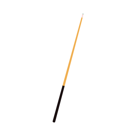 Vector flat cartoon style wooden cue with black handle. Isolated illustration on a white background. Professional snooker, pool billiard equipment, instrument for your design.